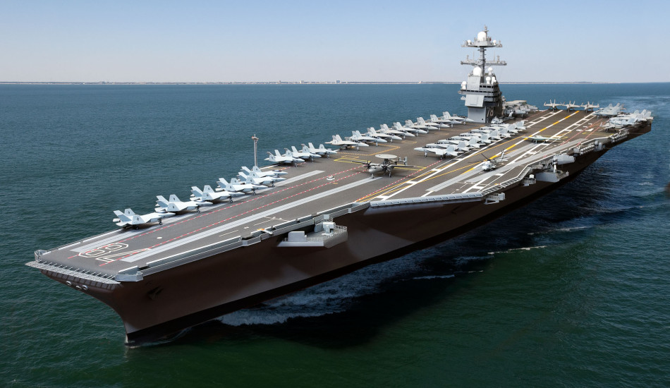 The aircraft carrier USS Gerald R. Ford CVN 78, is represented here in a combination model and live shot digital photo illustration.  The ship is the first in a new class of nuclear-powered aircraft carriers, for the US Navy under construction at Newport News Shipbuilding.